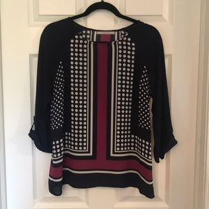 41 Hawthorn Tops - Navy and pink print blouse Size S